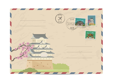 Japan vintage postal envelope with postage stamps and postmarks on white background, isolated vector illustration. Japanese ancient temple. Air mail stamp. Postal services. Envelope delivery. Vettoriali