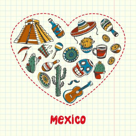 Amour Mexique. coeur Dotted rempli de griffonnages colorés associés à la nation mexicaine tiré sur carré papier vecteur illustration. Souvenirs à propos de voyage en Amérique latine. Esquissés icônes ethniques onramental