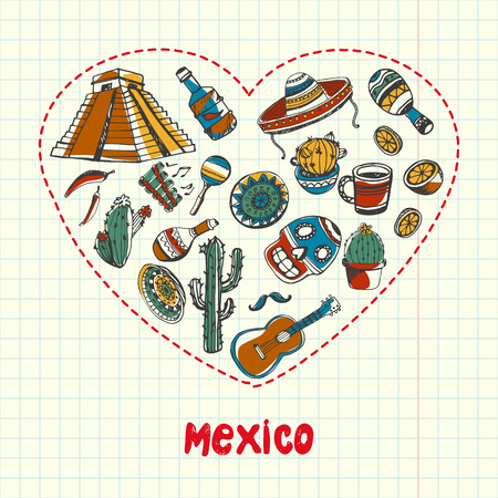 Love Mexico. Dotted heart filled with colored doodles associated with mexican nation drawn on squared paper vector illustration. Memories about Latin America journey. Sketched ethnic onramental icons