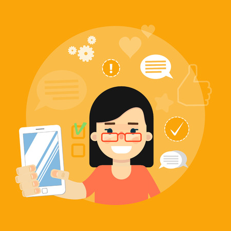 communication cartoon: Smiling cartoon girl holding smartphone on yellow background with communication icons, vector illustration. Social media concept. Connecting people, chatting, international network, media app Illustration