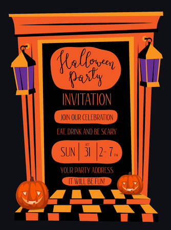 doorway: Halloween night party invitation with haunted house orange doorway and pumpkin head jack lanterns, cartoon vector illustration on black background. Halloween design template with space for text.