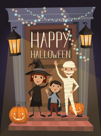 portone: Felice bandiera notte di festa di Halloween con i bambini divertenti in costumi di Carnevale mummia, vampiro e strega sullo sfondo della porta casa infestata, fumetto illustrazione vettoriale. modello di progettazione di Halloween