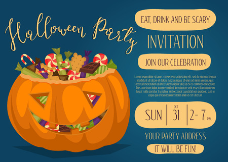 Vintage Halloween party invitation with scary pumpkin head jack full of sweet candies, isolated cartoon vector illustration on blue background. Trick or treat concept. Happy Halloween design template Illustration