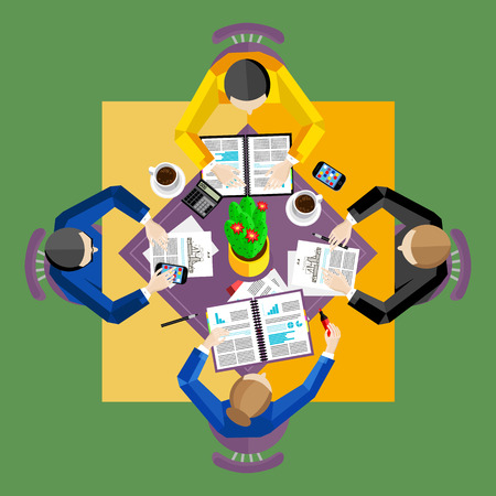 overhead view: Teamwork concept. Workspace background, vector illustration. Top view of group of four people working at square office desk. Business workplace. Collaboration and partnership