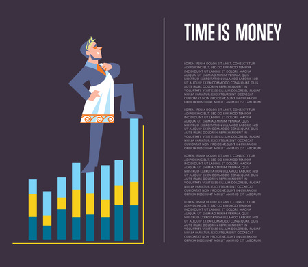 toga: Time is money banner with businessman in roman toga and laurel wreath standing on graph, isolated vector illustration on perpl background. Business growth. Time management design template.