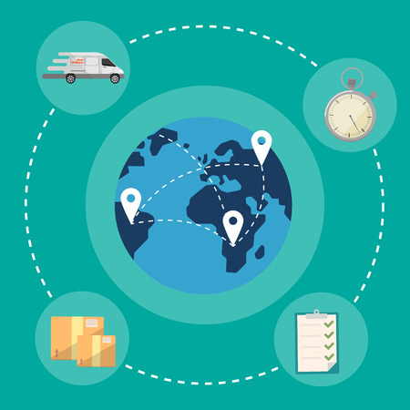 global logistics: Blue globe with routes on green background. Fast delivery banner, vector illustration. Worldwide shipping and moving service. International postage concept. Global logistics
