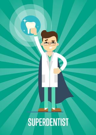 dentista de dibujos animados masculino en uniforme médico y superhéroe azul cabo la celebración de grandes dientes en el fondo de rayas verdes, ilustración vectorial. bandera consultorio dental. La higiene bucal, salud dental, cuidado dental.