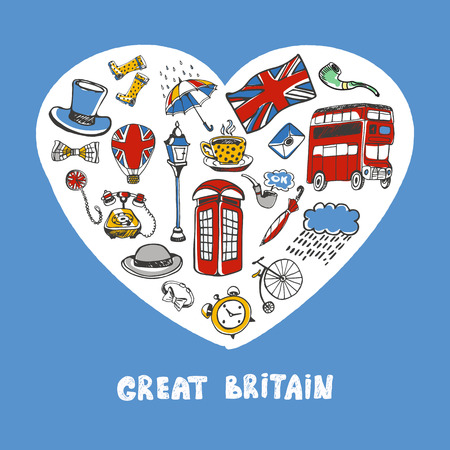 sketched icons: Love Great Britain. White heart filled with vintage doodles related with England isolated on blue background vector illustration. Memories about European journey. Sketched icons with national symbols