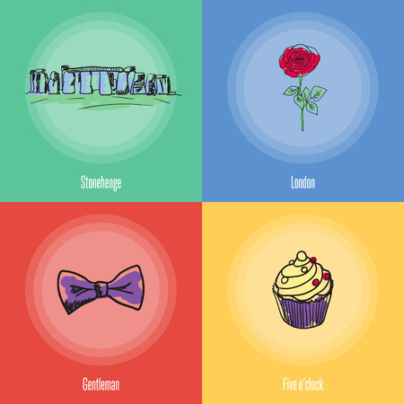 five o'clock: British cultural, political, fashion, historical symbols. Stonehenge, rose flower, sweet cake, bow tie doodle vector icons with caption on colored backgrounds. Country concept for travel company ad
