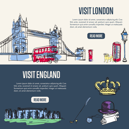 Visit London and England banners. Tower bridge, phone box, decker bus, lantern, bulldog hand drawn vectors on grey background. Stonehenge, crown, bowler hat, gloves, watch, golf club doodles on blue