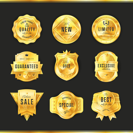 exclusive collection: Gold metal badge collection vintage style isolated vector illustration. Quality guaranteed and exclusive badge.