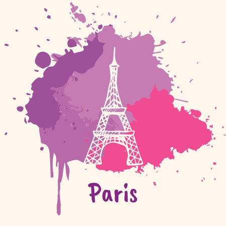 emotive: Bright impressions in Paris. Eiffel tower doodle sketched white on pink and violet paint spot with splashes vector illustration. Journey in Europe. Emotive travel concept with architectural attraction Illustration
