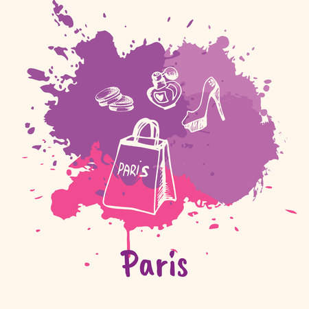 emotive: Bright impressions in Paris. Shopping bag, shoes, perfume doodles sketched white on pink and violet paint spot with splashes vector. Travel in Europe. Emotive touristic concept with womans stuff Illustration