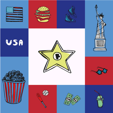 Checkered concept in american national colors with country related symbols.  popcorn, baseball, sneakers, sunglasses, Statue of Liberty, hamburger, soda, USA flag drawn vector icons
