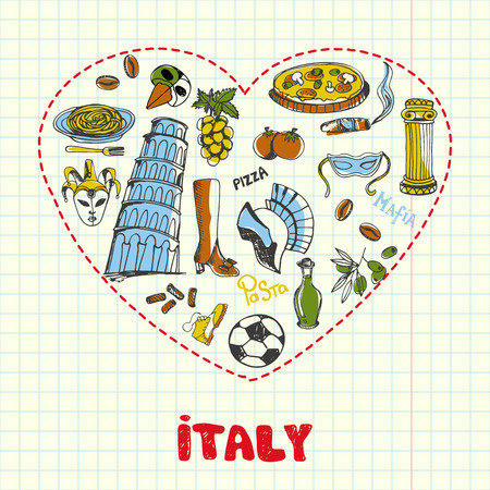 Love Italy. Dotted heart filled with colored doodles associated with italian nation drawn on squared paper vector. Memories about Europe journey. Sketched with pen food, architecture, sport icons Illustration