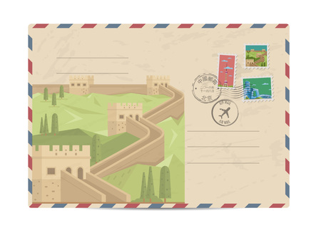 great wall of china: China vintage postal envelope with postage stamps and postmarks on white background, isolated vector illustration. Air mail stamp. Great wall of China. Postal services. Envelope delivery.