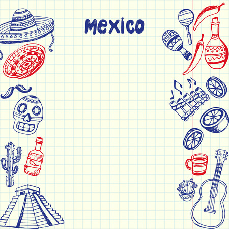 Mexico national symbols. Mexican cultural, culinary, nature, historical related doodles drawn on sides of squared paper sheet with copy space vector illustration. Sketched with pen latin theme icons  イラスト・ベクター素材