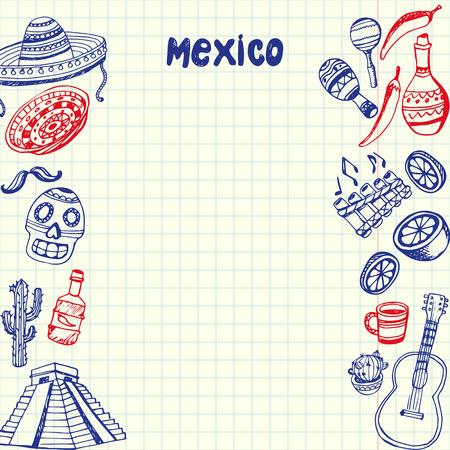 Symboles nationaux du Mexique. Mexicain culturel, culinaire, nature, griffonnages historiques dessinés sur les côtés de la feuille de papier quadrillé avec l'illustration vectorielle de l'espace de copie. Schéma avec des icônes de thème latin