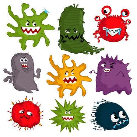 Cartoon viruses characters isolated vector illustration on white background. Cute fly germ virus infection vector characters. Funny micro bacteria characters. Microbe, Pathogen