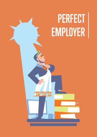 toga: Perfect employer banner with businessman in roman toga and laurel wreath standing on stack of folders, isolated vector illustration on orange background. Office life. Big boss character. Startup idea
