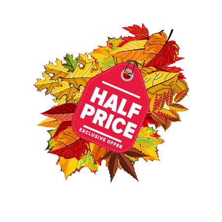 Autumn seasonal sale badge, vector illustration. Half price, exclusive offer label on white background with colorful autumn leaves. Red price tag with white text. Incredible sale proposition