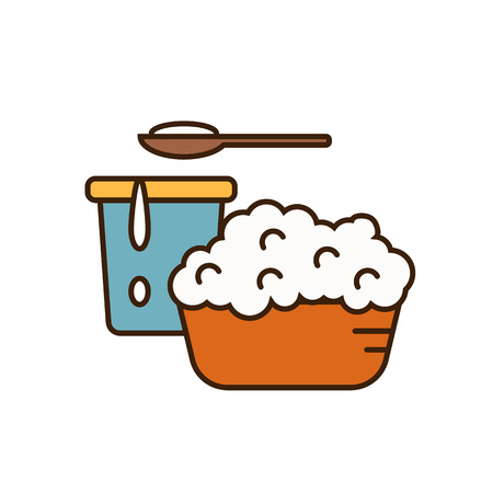 cottage cheese: Dairy icon in line style design with cottage cheese on plate and yoghurt in container, isolated vector illustration. Traditional and healthy products. Organic farming. Natural and healthy food