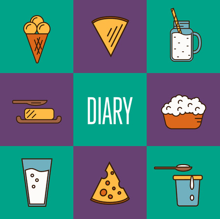 cottage cheese: Assortment of different dairy products, isolated square composition on color background, vector illustration in line style design. Traditional milk products. Organic farming. Natural tasty food Illustration