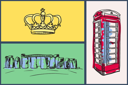 red telephone box: English national symbols. Royal crown, london red telephone box, stonehenge hand drawn vector illustrations on colored backgrounds set. For travel company ad, touristic concepts, web pages design