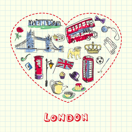 Love London. Dotted heart filled with colored doodles associated with english capital drawn on squared paper vector illustration. Memories about Europe journey. Sketched with pen British related icons Vector Illustration
