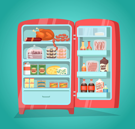 nutrients: Retro refrigerator full of food. Vintage fridge filled with daily products vector illustration. Saving freshness of meal. Weekly nutrients supply. Space organization in freezer. Home abundance concept Illustration