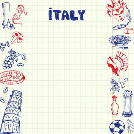 sketched icons: Italy national symbols. Italian cultural, culinary, sportive, historical, architectural, related doodles drawn on sides of squared paper sheet with copy space vector illustration. Pen Sketched icons
