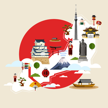 torii: Japan famous landmarks and travel map with torii gate, fujiyama, television tower, ancient temples and other attractions on background of red sun circle, vector illustration. Travel concept Illustration