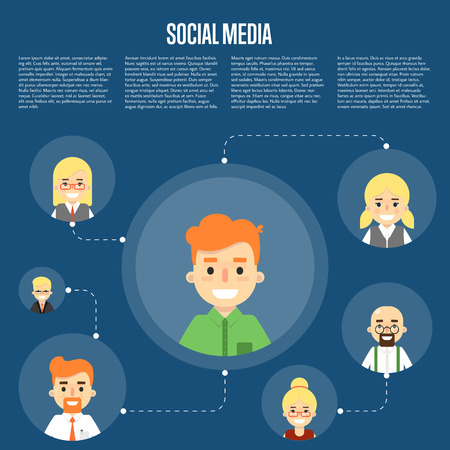 coordination: Smiling cartoon boy with own successful social network. Social media banner on blue background, vector illustration. Connecting people. Teamwork concept. Project coordination. Business team