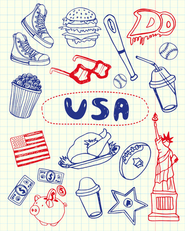 sportive: United States of America national symbol. American cultural, culinary, sportive, historical, architectural, animal, scientific related doodle drawn on squared paper vector set. Sketched with pen icons Illustration