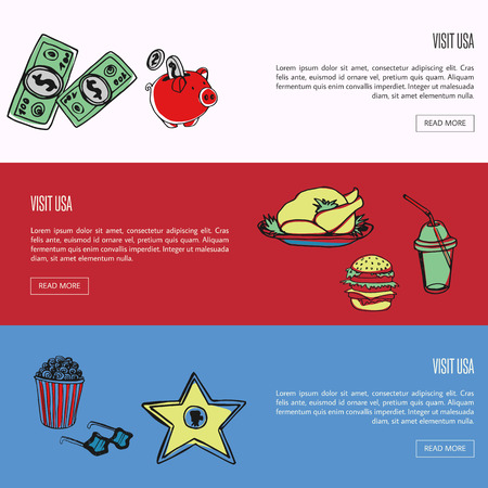 Visit USA banners. Dollars, piggy bank, hamburger, turkey, soda, popcorn, sunglasses, star hand drawn vector on colored backgrounds. Country related symbols. For travel company landing page Illustration