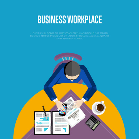 overhead: Top view business workplace, vector illustration. Overhead view of businessman working with financial documents at round office desk. Business people banner with space for text on blue background.