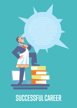 toga: Perfect employer banner with businessman in roman toga and laurel wreath standing on stack of folders, isolated vector illustration on blue background. Career development poster template. Big boss