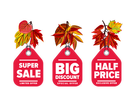 discount tag: Autumn seasonal sale badges set, vector illustration. Half price, super sale and big discount labels on white background with colorful autumn leaves. Red price tag with white text. Autumnal discount