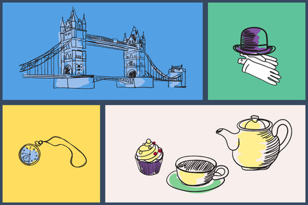 bridge hand: English national symbols. Tower bridge, bowler hat, gloves, pocket watch, kettle, cup of tea, cake hand drawn vector illustrations on colored backgrounds set. For travel company ad, touristic concepts