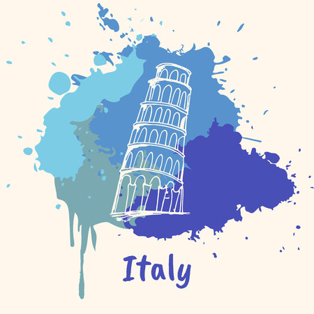 emotive: Bright impressions in Italy. Pisa tower doodle sketched white on blue paint spot with splashes vector illustration. Travel in Europe. Emotive country concept with famous architecture attractions
