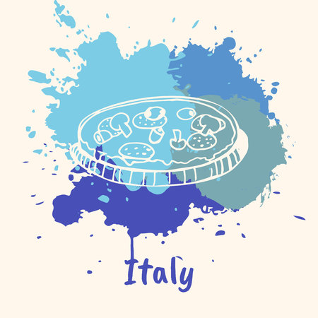 emotive: Bright impressions in Italy. Pizza with mushrooms and salami doodle sketched white on blue paint spot with splashes vector illustration. Travel in Europe. Emotive country concept with national cuisine Illustration