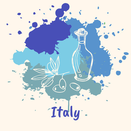 emotive: Bright impressions in Italy. Bottle of olive oil doodle sketched white on blue paint spot with splashes vector illustration. Travel in Europe. Emotive country concept with famous flavored seasoning