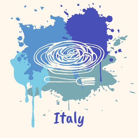 pasta fork: Bright impressions in Italy. Pasta in plate with fork doodle sketched white on blue paint spot with splashes vector illustration. Travel in Europe. Emotive country concept with famous cuisine