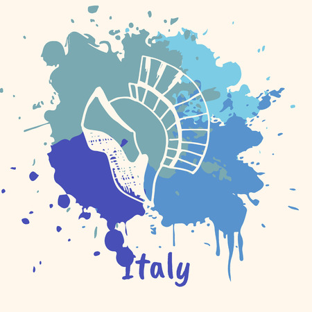 artifact: Bright impressions in Italy. Gladiator helmet doodle sketched white on blue paint spot with splashes vector illustration. Travel in Europe. Emotive country concept with famous historical artifact