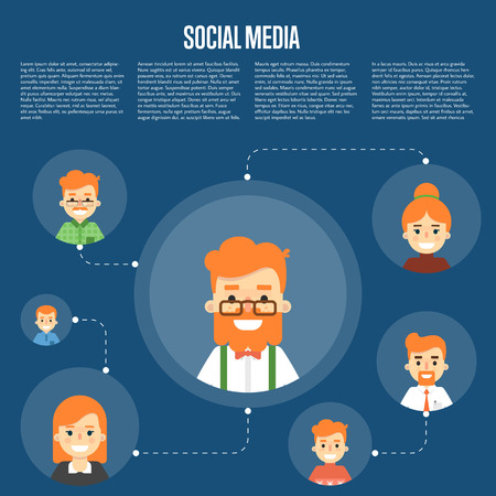 coordination: Smiling cartoon man with own successful social network. Social media banner on blue background, vector illustration. Connecting people. Teamwork concept. Project coordination. Business team Illustration