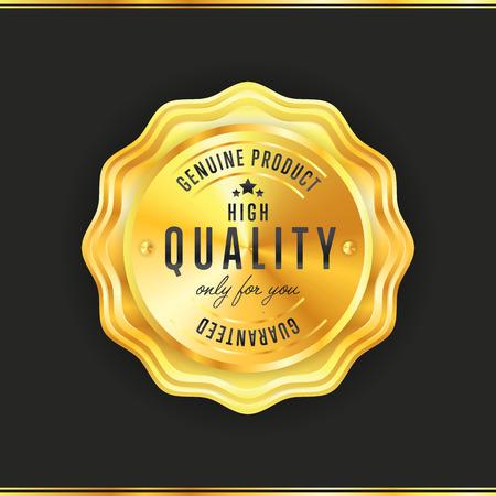 signatory: Gold seal vintage style isolated vector illustration Illustration