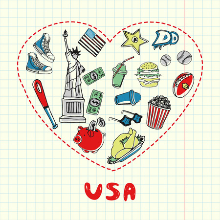 Love USA. Dotted heart filled with colored doodles associated with american nation on squared paper vector illustration. Memories about U.S. journey. Sketched food, culture, finances, sport icons