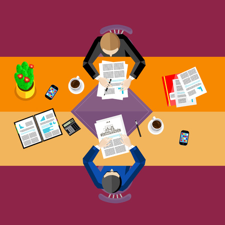 overhead: Top view business workplace, vector illustration. Overhead view of businessmen working with financial documents at office desk. Business people template. Teamwork concept