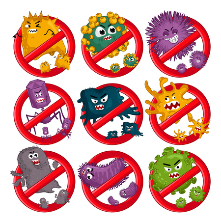 Cartoon viruses characters isolated vector illustration on white background. Cute fly germ virus infection vector characters. Funny micro bacteria characters. Stop viruses symbol. Microbe, Pathogen.
