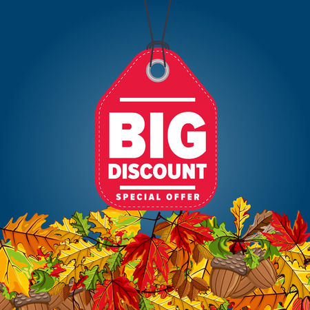 proposition: Autumn seasonal sale badge, vector illustration. Big discount, special offer label on blue background with colorful autumn leaves. Red price tag with white text. Incredible sale proposition